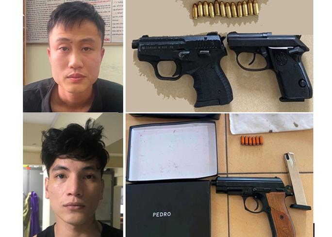 2 đối tượng dương tính với ma túy, lận lưng 3 khẩu súng và 18 viên đạn - Ảnh 1.