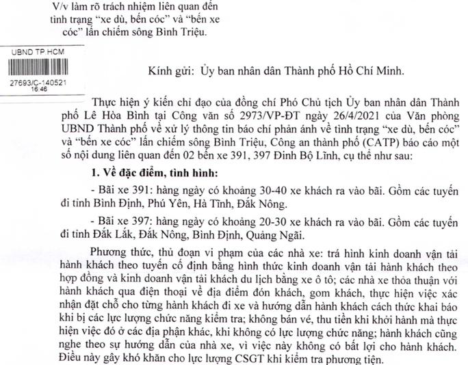 Kết quả điều tra của Công an TP HCM liên quan 2 bến cóc trước Bến xe Miền Đông - Ảnh 1.