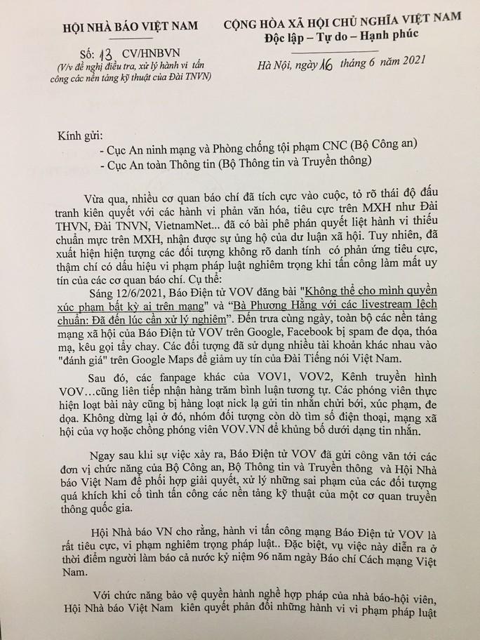 Hội Nhà báo Việt Nam đề nghị điều tra, xử lý nghiêm hành vi tấn công mạng Báo Điện tử VOV - Ảnh 1.