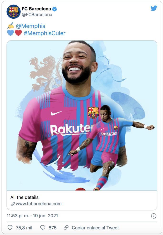 Tỏa sáng ở Euro 2020, Memphis Depay gia nhập Barcelona với giá 0 đồng - Ảnh 1.