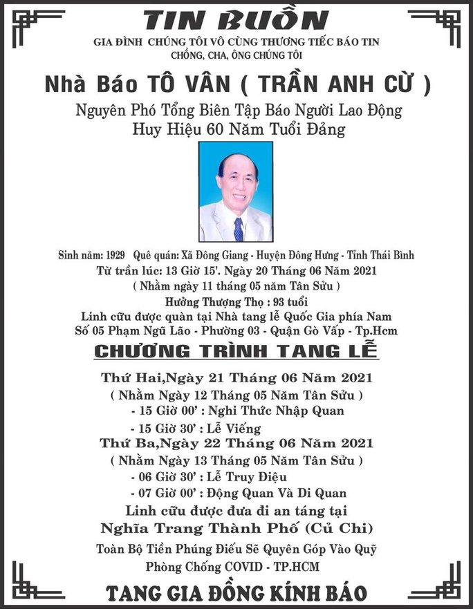 Báo Người Lao Động chia buồn cùng gia đình nhà báo Tô Vân - Ảnh 1.