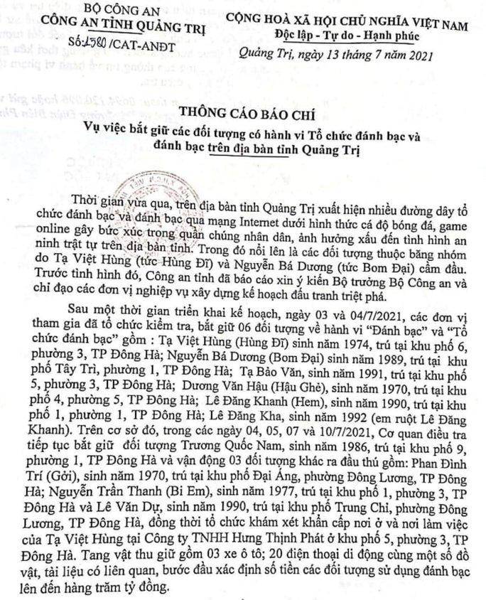 Công an thông tin về đường dây đánh bạc hàng trăm tỉ đồng ở Quảng Trị - Ảnh 1.