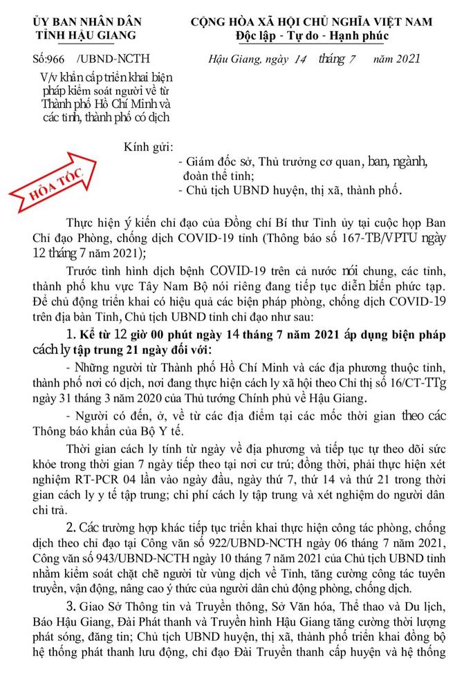 Tân Bí thư Hậu Giang kiểm tra thực tế, 7 địa phương khẩn trương dập dịch Covid-19 - Ảnh 3.