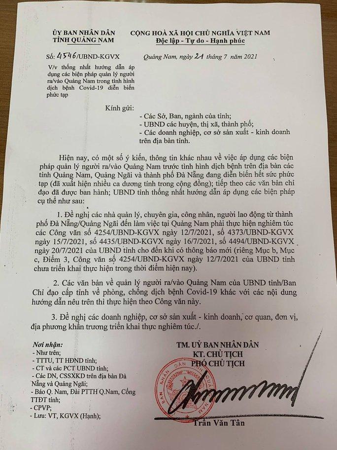 """Quảng Nam điều chỉnh nội dung """"cho phép người đi về Đà Nẵng trong ngày"""" - Ảnh 2."""