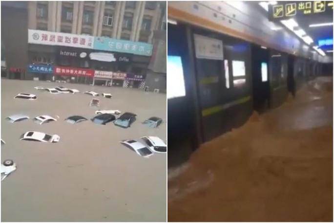 Trung Quốc: Đường phố thành sông, nước ngập tới ngực hành khách đi tàu hỏa - Ảnh 5.