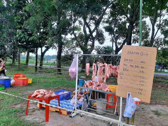 Biến sân bóng, lề đường thành chợ dã chiến bán rau, thịt  - Ảnh 2.