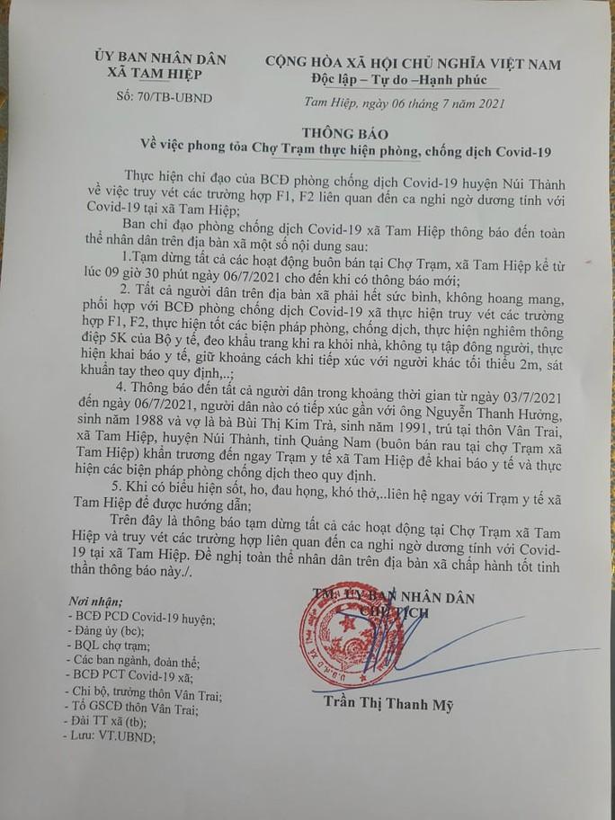 Quảng Nam: Đóng cửa 2 chợ liên quan người nghi mắc Covid-19 - Ảnh 1.
