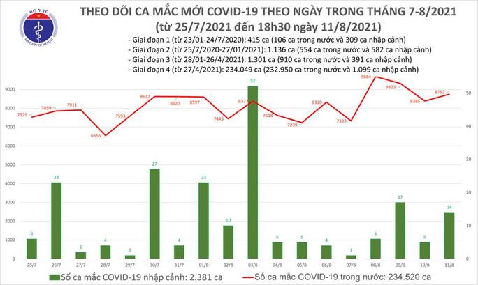 Ngày 11-8, thêm 4.806 người khỏi bệnh, 8.766 ca mắc Covid-19 - Ảnh 1.