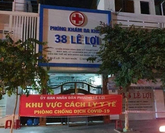Phòng khám Đa khoa 38 Lê Lợi, nơi vừa xuất hiện một ca F0 khiến 10 bác sĩ của Trung tâm Y tế TP Quy Nhơn và Bệnh viện Đa khoa tỉnh Bình Định trở thành F1, phải thực hiện cách ly.
