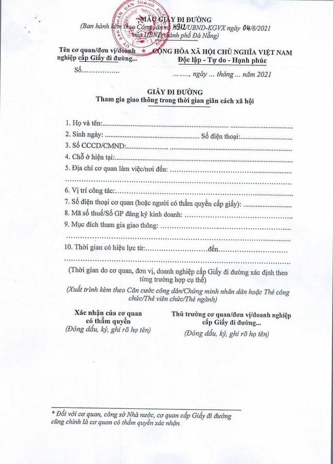 Đà Nẵng đổi mẫu giấy đi đường từ ngày 6-8