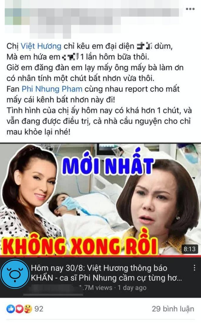 Phía Việt Hương nói gì về thông tin Phi Nhung cầm cự từng hơi thở? - Ảnh 1.