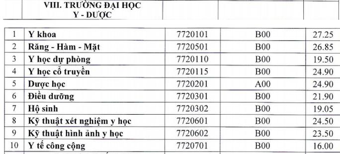 Điểm chuẩn trúng tuyển các trường khối y dược - Ảnh 4.