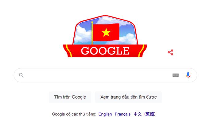 Google đổi giao diện bằng ảnh cờ đỏ sao vàng mừng Quốc khánh Việt Nam