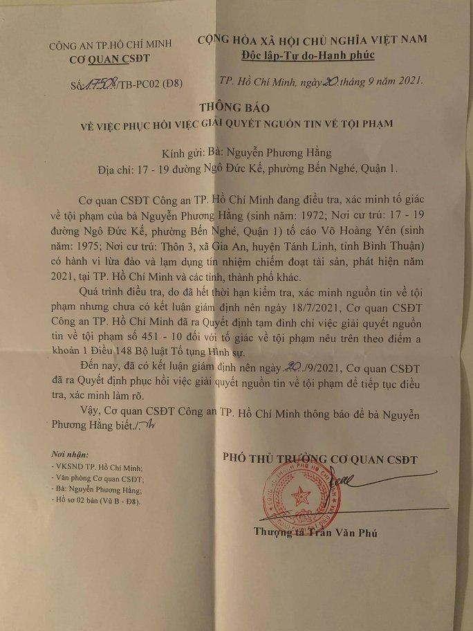 Công an TP HCM phục hồi điều tra vụ bà Nguyễn Phương Hằng tố ông Võ Hoàng Yên - Ảnh 1.