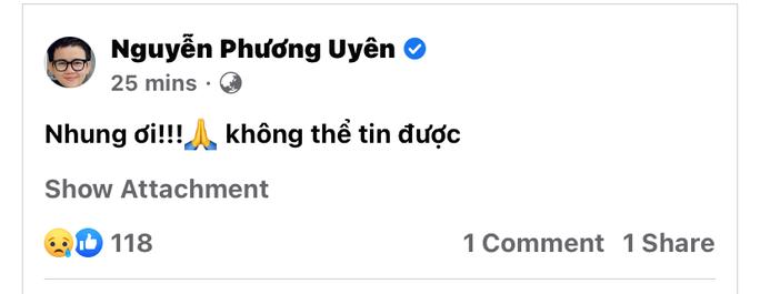 Nghệ sĩ bàng hoàng, tiếc thương ca sĩ Phi Nhung - Ảnh 1.