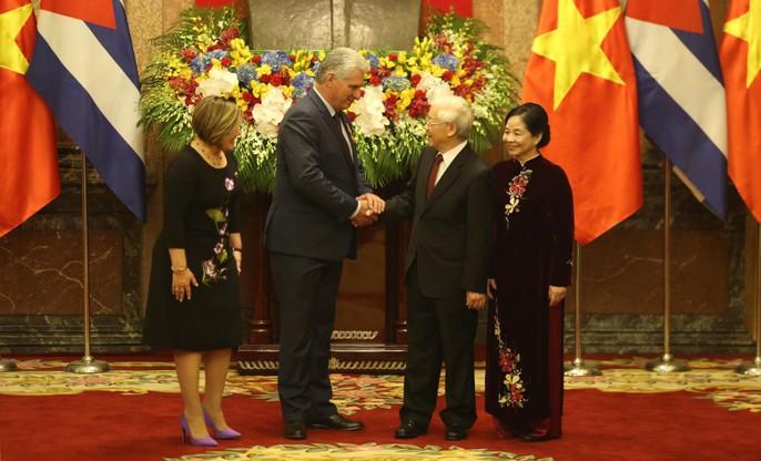 Cận cảnh Tổng Bí thư, Chủ tịch nước Nguyễn Phú Trọng đón Chủ tịch Cuba - Ảnh 9.
