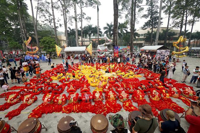 108 con lân đồng diễn, xếp hình Quốc kỳ xác lập kỷ lục Guinness Việt Nam - Ảnh 5.