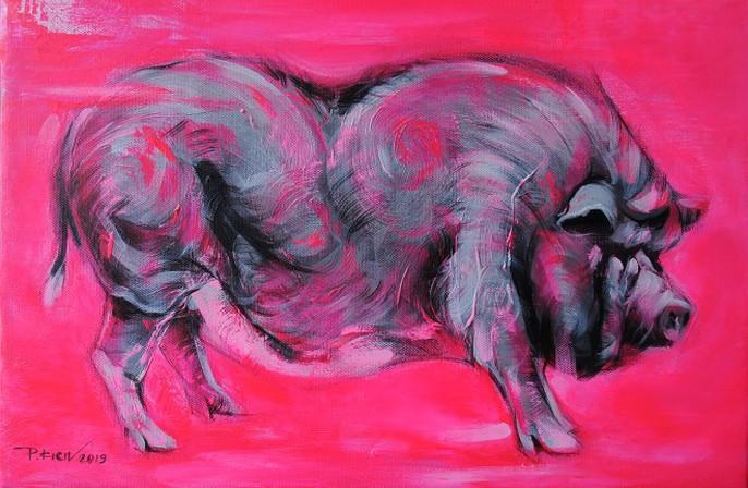 Tác phẩm Ỉn hồng của họa sĩ Phạm Kiên