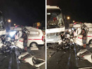 Xe chở công nhân tông xe cứu thương, 5 người thương vong