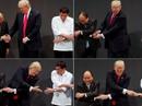 Tổng thống Mỹ Donald Trump lúng túng khi bắt tay chéo