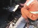 Kỷ luật nam công nhân môi trường xả lén nước bẩn xuống cống thoát nước