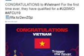 FIFA, Đông Nam Á chúc mừng U19 Việt Nam