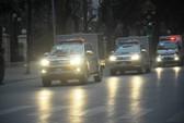 Đoàn xe đưa ông Đinh La Thăng và đồng phạm tới tòa nghe tuyên án