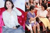 Sợ hớ hênh, Song Hye Kyo che trước chắn sau