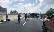Xe đông lạnh nổ lốp, lật trên đường cao tốc Đà Nẵng – Quảng Ngãi