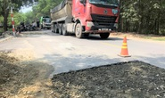 Đường mới nâng cấp đã hư, bên thi công nói do xe quá tải