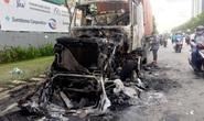 Kinh hãi xe container cháy dữ dội trên xa lộ Hà Nội