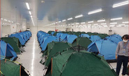 Những hình ảnh lắp lều ở Bắc Ninh để công nhân làm, nghỉ, ăn, ngủ tại công ty
