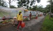 Chợ quê dùng bạt trong suốt hạn chế tiếp xúc gần khi mua bán