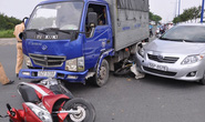 Xe tải mất thắng ở chốt giao thông, 3 người nhập viện