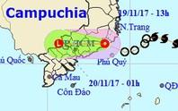 Áp thấp nhiệt đới vào Ninh Thuận-Bình Thuận, gây mưa lớn