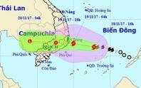 Bão số 14 khả năng đổ bộ Khánh Hòa-Bình Thuận vào trưa 19-11