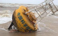 Một căn nhà và phao hàng hải có chữ Trung Quốc dạt vào bờ biển Thừa Thiên - Huế