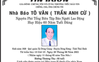 Báo Người Lao Động chia buồn cùng gia đình nhà báo Tô Vân