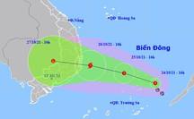 Áp thấp nhiệt đới khả năng mạnh lên thành bão, hướng vào Nam Trung bộ