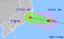 Áp thấp nhiệt đới hướng vào Khánh Hòa-Bắc Bình Thuận, miền Trung, Đông Nam Bộ mưa lớn