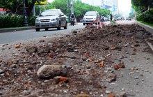 Đất, đá vụn vương vãi cửa ngõ sân bay Tân Sơn Nhất