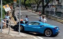 Né chó, xế sang Ferrari vỡ đầu vì tông biển báo