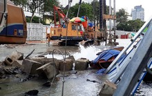 Cột nước cao hơn 5 m bốc lên từ đường Lê Lợi