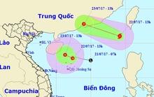 Hi hữu bão xuất hiện cùng áp thấp nhiệt đới trên Biển Đông