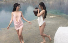 Bất chấp lệnh cấm, 2 hotgirl chụp ảnh hở hang ở tuyệt tình cốc