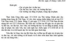 Thực hư công văncho học sinh nghỉ học cổ vũ U23 Việt Nam