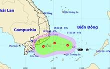 Áp thấp nhiệt đới giật cấp 8 trên Biển Đông hướng về Nam Bộ