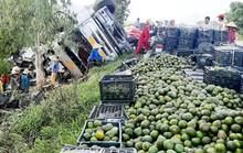 Thấy xe tải chở cam lật, hàng chục người dân giúp tài xế thu gom