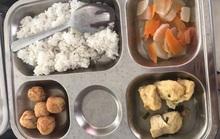 Hiệu trưởng né nhiều câu hỏi  sau khi phụ huynh phản ứng bữa ăn của học sinh quá lèo tèo