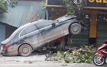 Xế hộp Mercedes bất ngờ leo lên cây bàng, tài xế bị thương